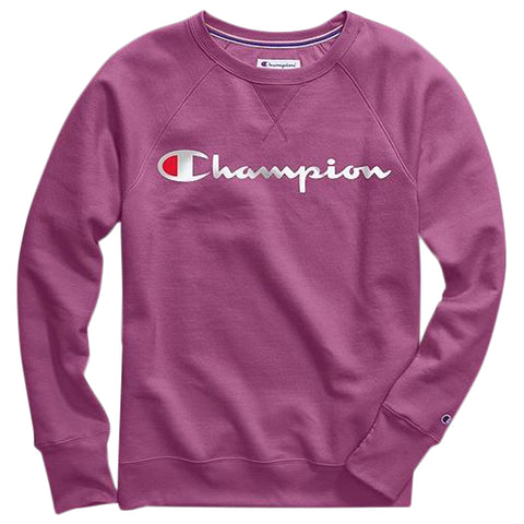 CHAMPION WOMEN'S POWERBLEND BOYFRIEND CREW OUR FAVORITE FUCHSIA
