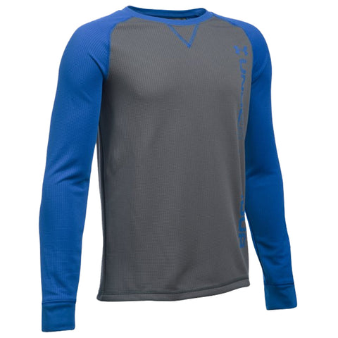 UNDER ARMOUR BOY'S WAFFLE CREW GRAPHITE