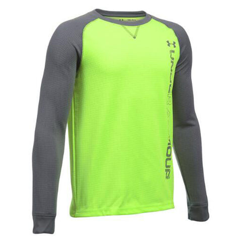 UNDER ARMOUR BOY'S WAFFLE CREW FUEL GREEN