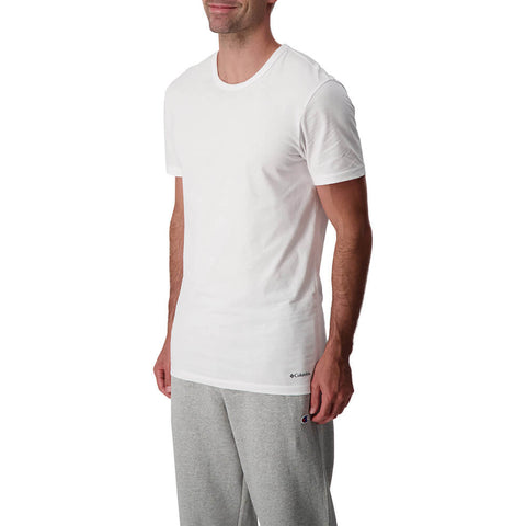COLUMBIA MEN'S 3PACK CREW COTTON SHORT SLEEVE TOP WHITE