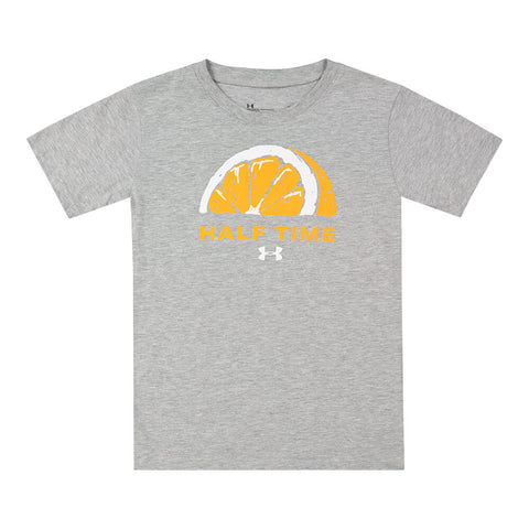 UNDER ARMOUR BOY'S 4-7 HALF TIME SHORT SLEEVE TEE MOD GREY/ORANGE