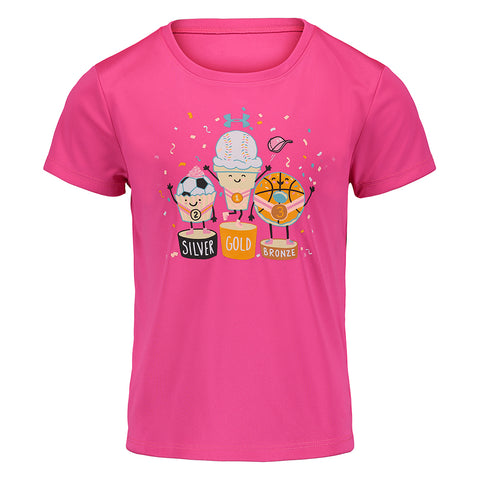 UNDER ARMOUR GIRL'S 0-6X MEDAL STANDINGS SHORT SLEEVE TEE PINK SURGE