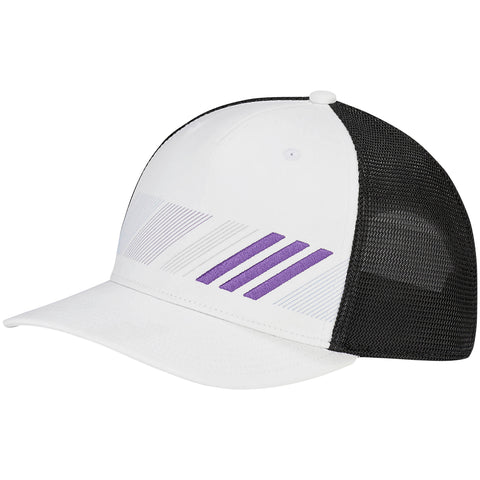 ADIDAS MEN'S ADI STRIPE TRUCKER HAT WHITE/ACTIVE PURPLE