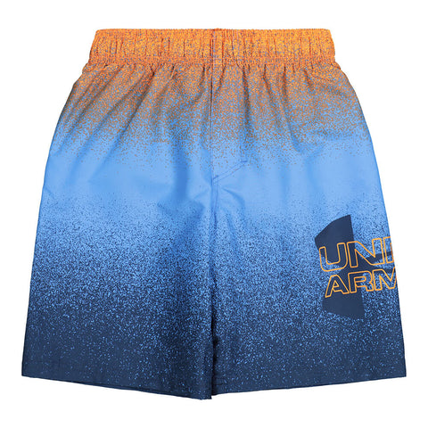 UNDER ARMOUR BOY'S SPRAY LOGO VOLLEY SHORT WATER/ORANGE/ACADEMY