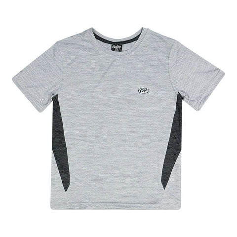 RAWLINGS BOY'S SHORT SLEEVE CREW NECK TEE LIGHT GREY/BLACK