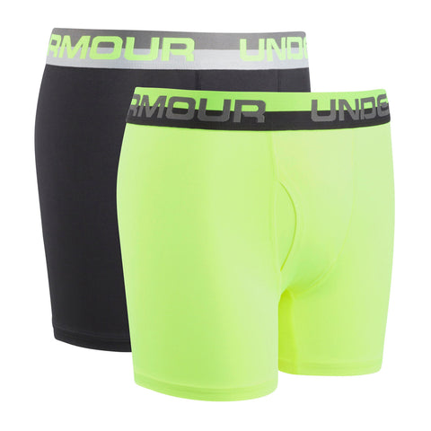 UNDER ARMOUR BOY'S 2 PACK SOLID PERFORMANCE BOXER HVY