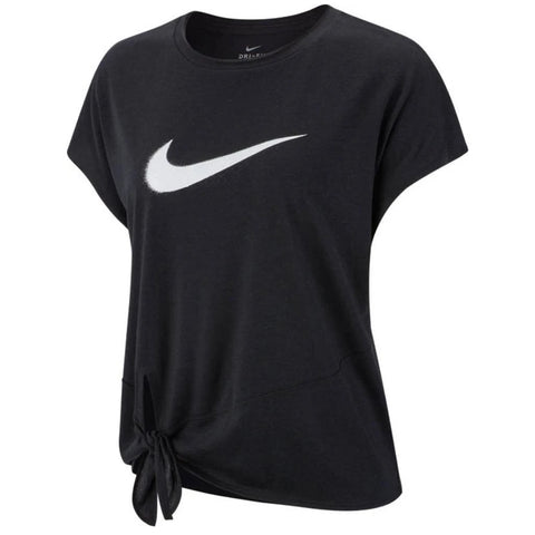 NIKE WOMEN'S DRY SIDE TIE SHORT SLEEVE TOP GRX BLACK/WHITE