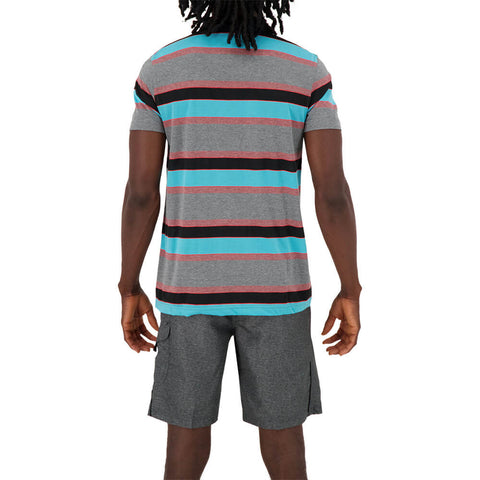 BURNSIDE MEN'S STRIPED POLO TOP MOOD INDIGO