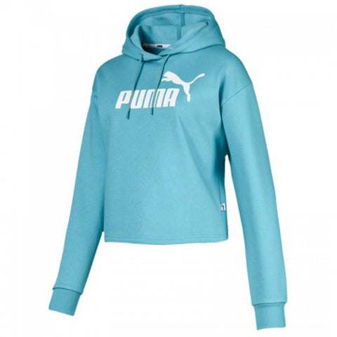 PUMA WOMEN'S ELEVATED ESSENTIAL LOGO CROPPED HOODY MILKY BLUE