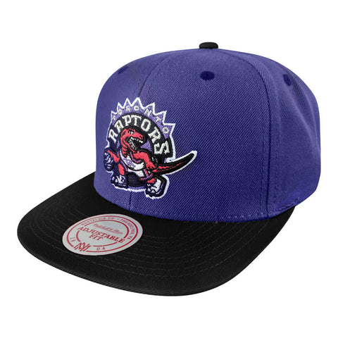 MITCHELL & NESS MEN'S TORONTO RAPTORS XL LOGO 2 TONE SNAPBACK HAT PURPLE/BLACK