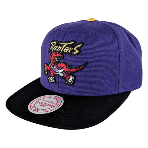 MITCHELL & NESS MEN'S TORONTO RAPTORS GOLD TIP 2 SNAPBACK HAT BLACK