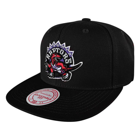 MITCHELL & NESS MEN'S TORONTO RAPTORS WOOL SOLID 2 SNAPBACK HAT BLACK