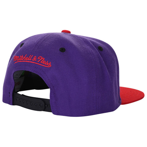 MITCHELL & NESS MEN'S TORONTO RAPTORS 2 TONE 100F SNAPBACK HAT PURPLE/RED