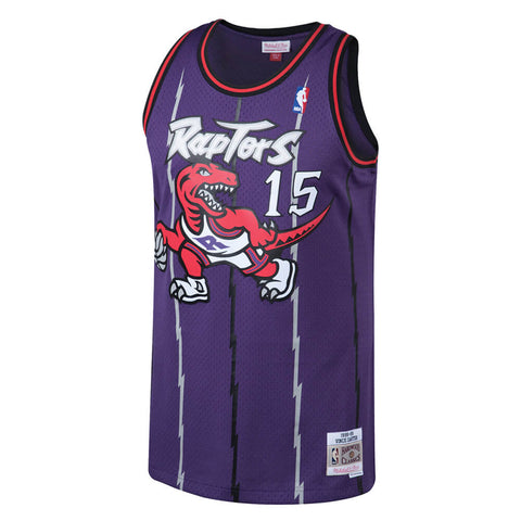 MITCHELL & NESS MEN'S TORONTO RAPTORS SWINGMAN JERSEY CARTER PURPLE FRONT RAPTORS LOGO