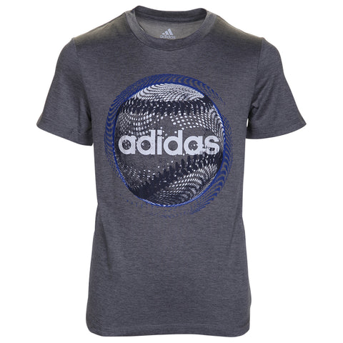 ADIDAS BOY'S POLY HEATHER TEE - BASEBALL GREY