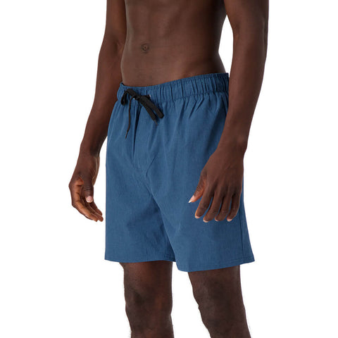 BURNSIDE MEN'S SWIM TRUNKS HEATHER COBALT