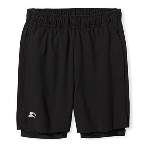 STARTER BOY'S 2 IN 1 SHORT BLACK/ BLACK