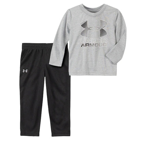 UNDER ARMOUR BOY'S 0-12 MONTHS BIG LOGO HOODY ARMOUR FLEECE SET BLACK