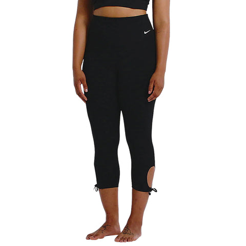 NIKE WOMEN'S YOGA COLLECTION TIGHT 7/8 PLUS 1X-3X BLACK/WHITE