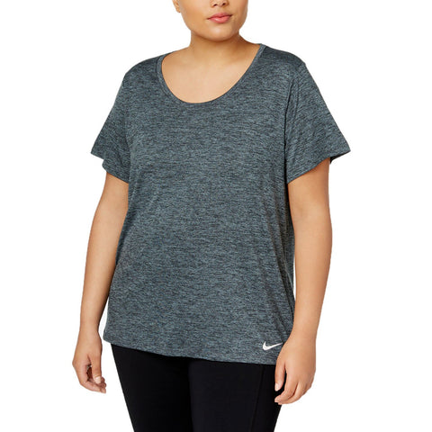 NIKE WOMEN'S DRY TOP SHORT SLEEVE LEGEND PLUS BLACK/COOL GREY/WHITE