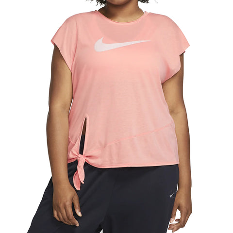 NIKE WOMEN'S DRY SIDE TIE SHORT SLEEBE EE PLUS PINK QUARTZ/ECHO