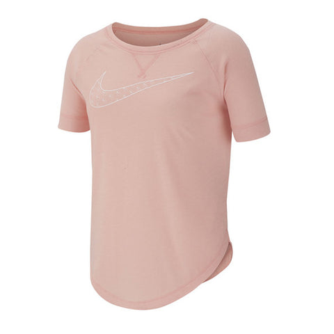 NIKE GIRL'S TROPHY DRY SHORT SLEEVE BLEACHED CORAL/WHITE
