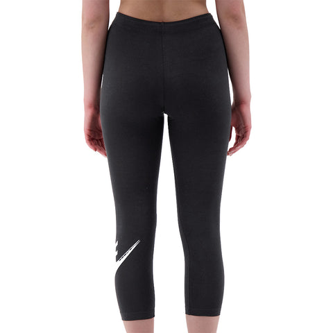 NIKE WOMEN'S NSW LEGGING CLUB CROP FUTURA BLACK/WHITE