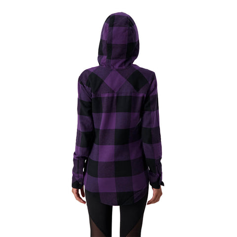 RIPZONE W APEX HOODED PLAID FLANNEL PURPLE PLUMERIA