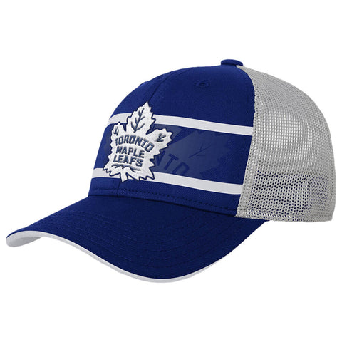 OUTERSTUFF YOUTH TORONTO MAPLE LEAFS AUTHENTIC RINKSIDE STRIPE STRUCTURE ADJUSTABLE HAT