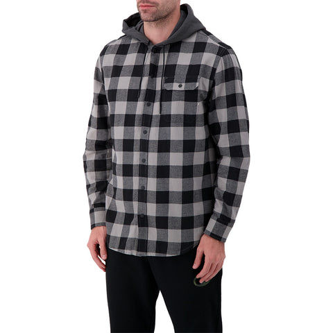 RIPZONE MENS SIERRA HOODED FLANNEL SHIRT WET WEATHER PLAID