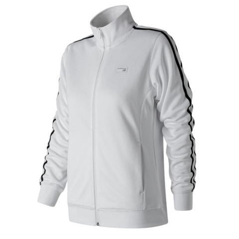 NEW BALANCE WOMEN'S ATHLETIC TRACK JACKET WHITE