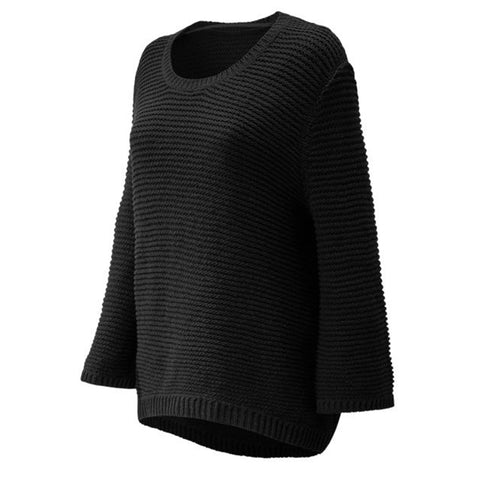 NEW BALANCE WOMEN'S OPEN STITCH SWEATER BLACK