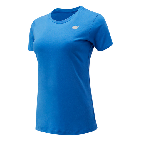 NEW BALANCE WOMEN'S RELENTLESS SHORT SLEEVE CREW BLUE