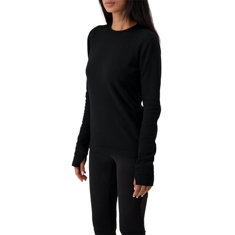 RIPZONE WOMENS MERINO CREW TOP BLACK