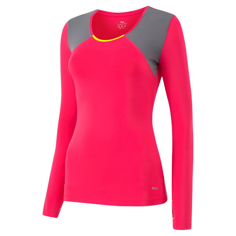 FILA WOMEN'S MAJOR LONG SLEEVE PINK ROSE/MINERAL GREY/YELLOW