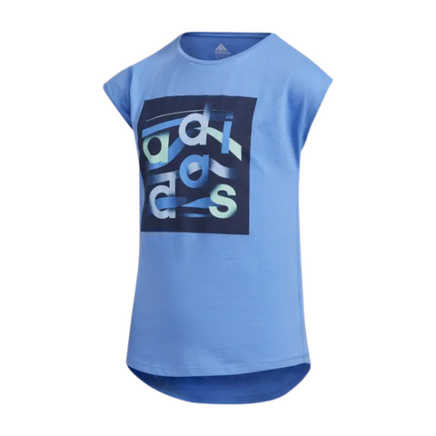 ADIDAS GIRL'S DROP SHOULDER TEE MEDIUM BLUE