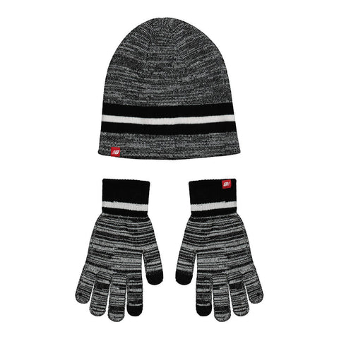NEW BALANCE BEANIE AND GLOVES SET BLACK
