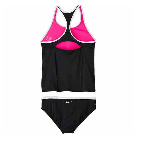 NIKE GIRL'S SOLID TANKINIB BLACK