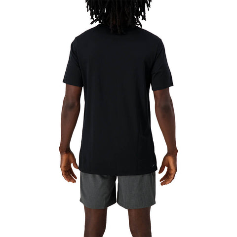 NEW BALANCE MEN'S R.W.T. HEATHERTECH SHORT SLEEVE TOP BLACK