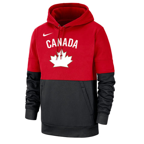 NIKE MEN'S TEAM CANADA THERMA PULLOVER HOODY RED