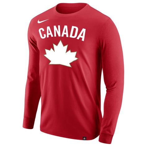 NIKE MEN'S TEAM CANADA CORE COTTON LONG SLEEVE TOP RED