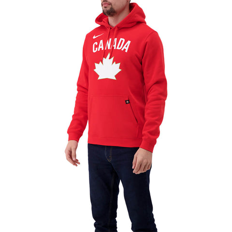 NIKE MEN'S TEAM CANADA CLUB FLEECE PULLOVER HOODY RED