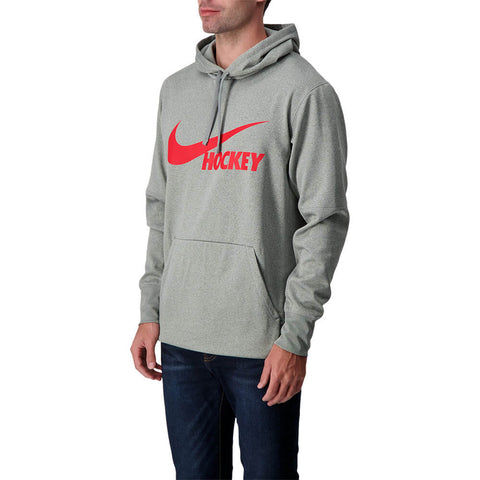 NIKE MEN'S HOCKEY THERMA PULLOVER HOODY GREY