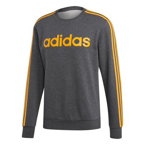 ADIDAS MEN'S ESSENTIALS 3 STRIPES FLEECE CREW GREY/GOLD