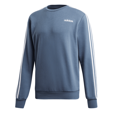 ADIDAS MEN'S ESSENTIAL 3 STRIPE FLEECE CREW INK