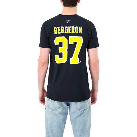 FANATICS MEN'S BOSTON BRUINS AUTHENTIC STACKED SHORT SLEEVE TOP BERGERON
