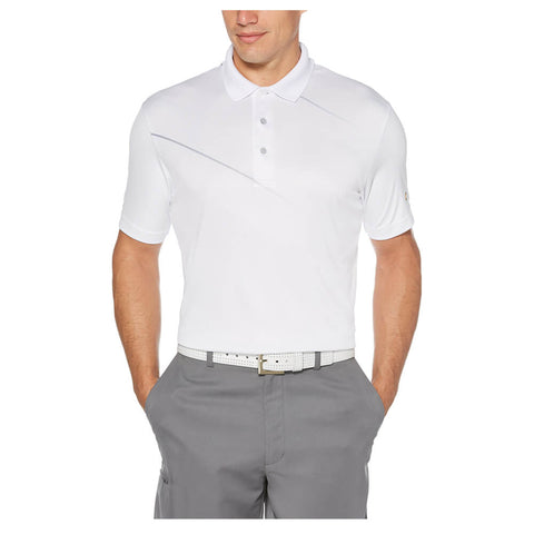 JACK NICKLAUS MEN'S ASYMETRICAL HERRINGBONE POLO WHITE