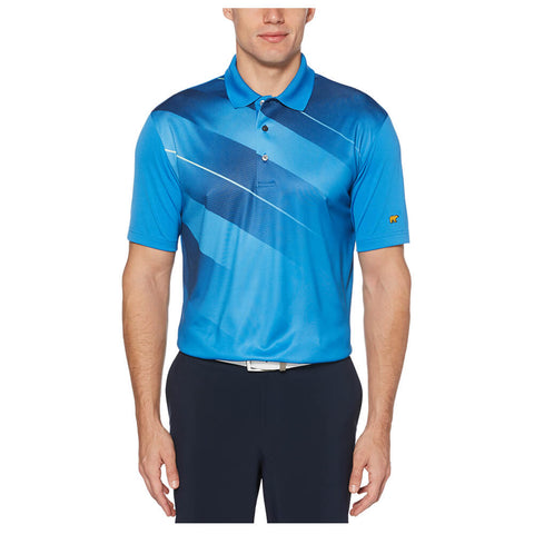 JACK NICKLAUS MEN'S ASYMETRICAL HERRINGBONE POLO DEEP WATER