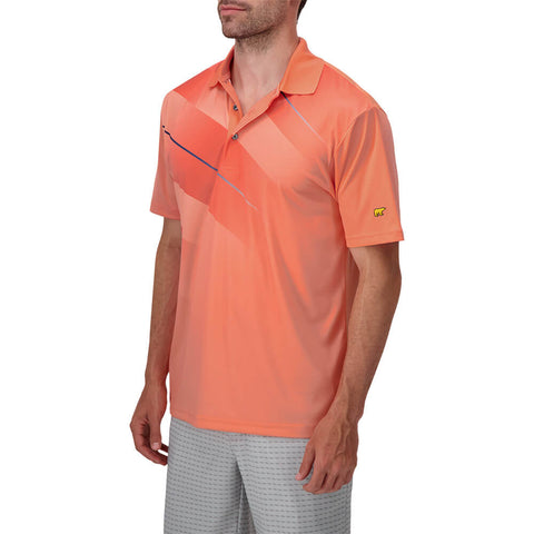 JACK NICKLAUS MEN'S ASYMETRICAL HERRINGBONE POLO FUSION CORAL