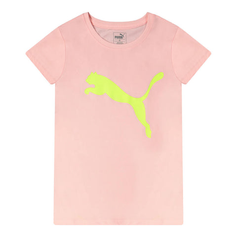 PUMA GIRL'S BIG CAT PACK GRAPHIC TEE CRYSTAL ROSE